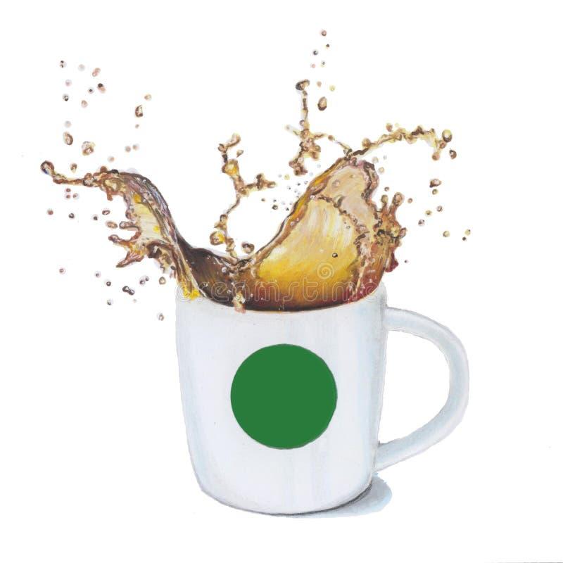 ilustracja z filiżanką kawy obrazy royalty free
