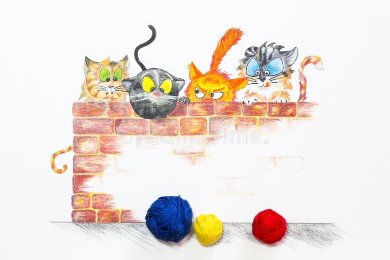 Ilustracja z grupą śliczni koty i kolorowe wełien piłki ilustracji