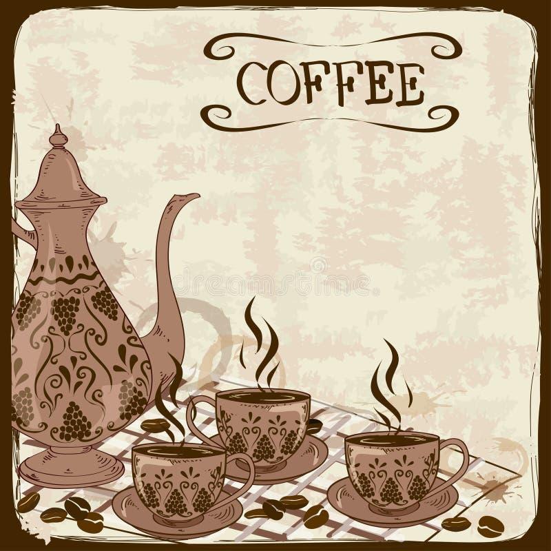 Ilustracja z kawowym garnkiem i filiżankami ilustracja wektor
