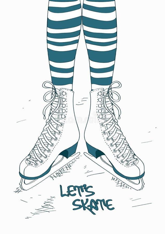 Ilustracja z kobiet nogami w łyżwach ilustracja wektor