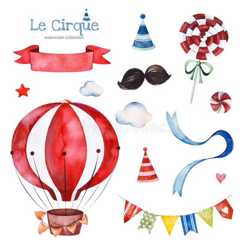 Ilustracja z kolorowym lotniczym ballon, cukierkiem, chmurami, girlandą, tasiemkowym sztandarem i więcej, ilustracja wektor