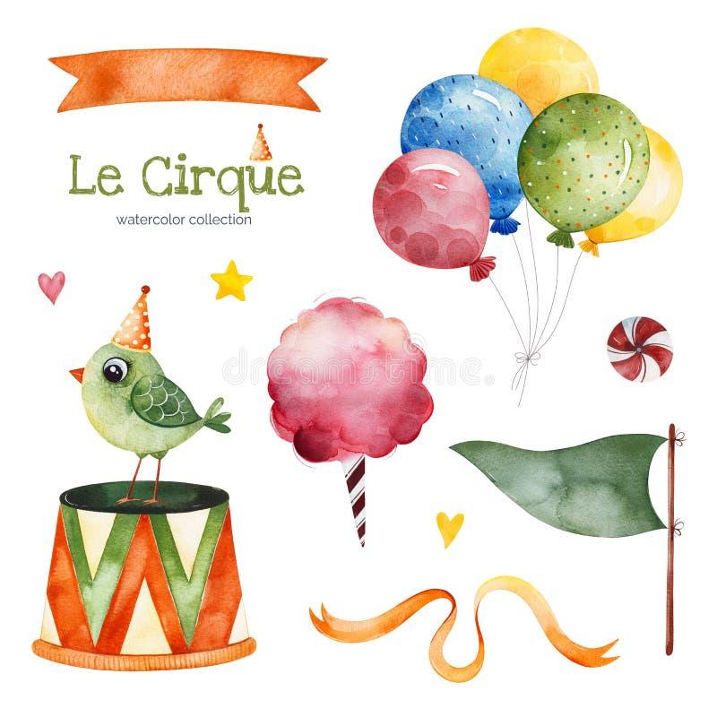 Ilustracja z kolorowymi lotniczymi ballons, ptakiem, flagą, cukierkiem, tasiemkowym sztandarem i więcej, royalty ilustracja