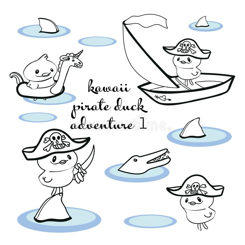 Ilustracja z kreskowej sztuki kawaii piratem royalty ilustracja