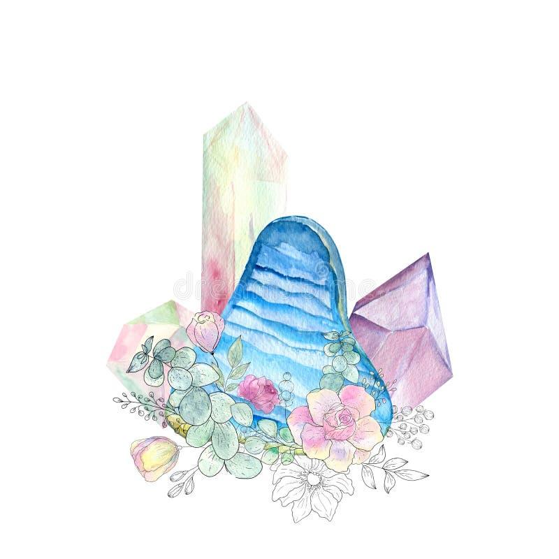 Ilustracja z kryształami i kwiaty w akwareli projektujemy royalty ilustracja