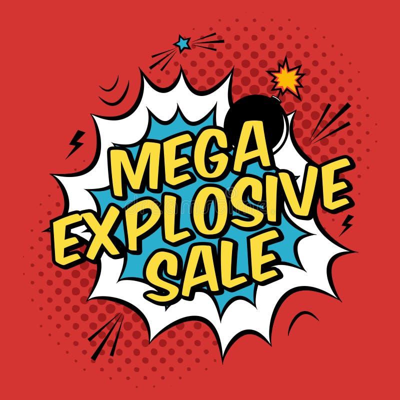 Ilustracja z mega wybuchowym sprzedaż rabatem royalty ilustracja