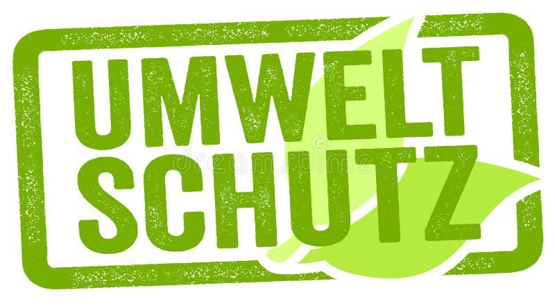 Ilustracja z niemieckim słowem dla ochrony środowiskiej - Umweltschutz ilustracja wektor