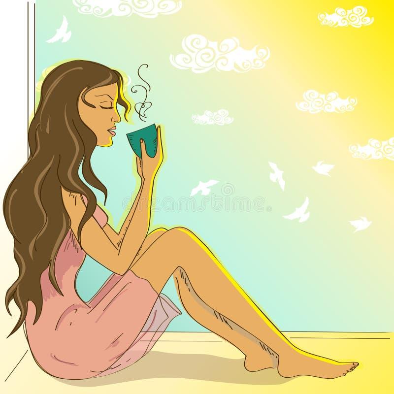Ilustracja z pięknym dziewczyny obsiadaniem na windowsill royalty ilustracja