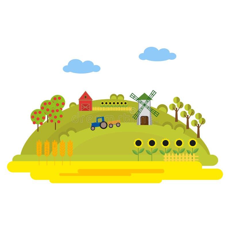 Ilustracja z rolnymi budynkami i ciągnikiem na zielonym wzgórzu Pola banatka, słoneczniki Wiatraczek i stajnia Lato royalty ilustracja