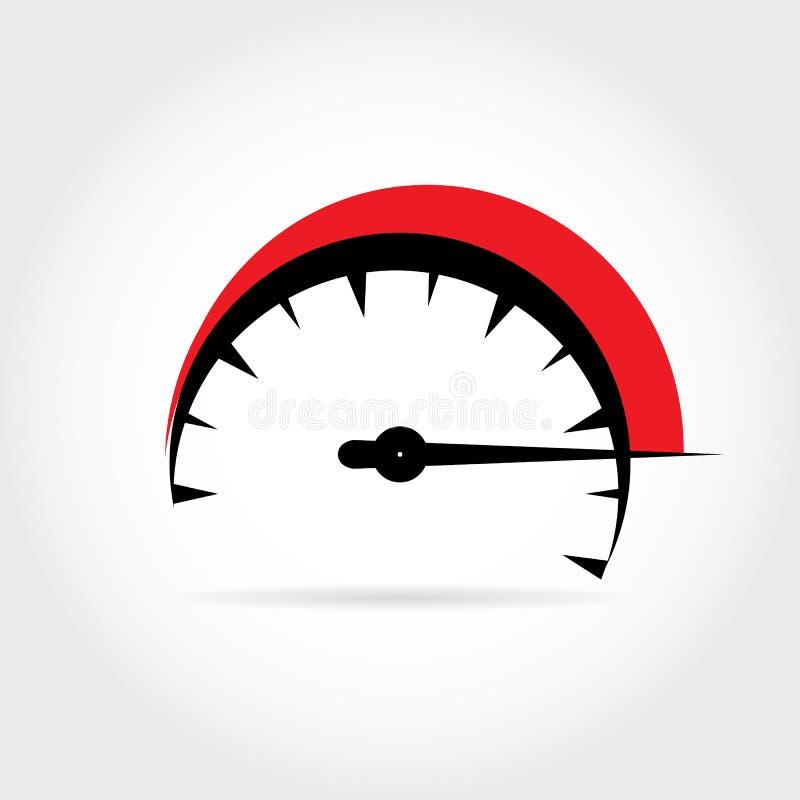 Ilustracja z symbolicznym wizerunkiem szybkościomierz wewnątrz czerwień i ilustracji