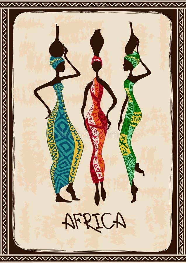 Ilustracja z trzy pięknymi Afrykańskimi kobietami royalty ilustracja