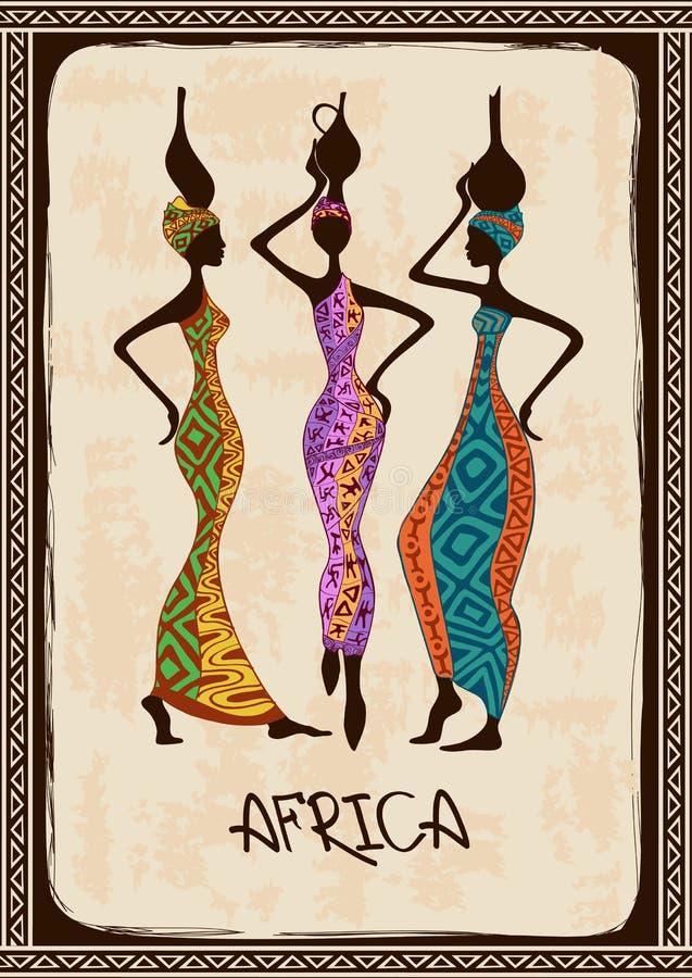 Ilustracja z trzy pięknymi Afrykańskimi kobietami ilustracji