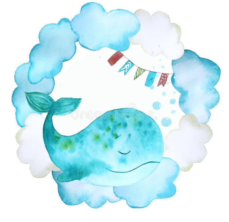 Ilustracja z wielorybami fotografia stock