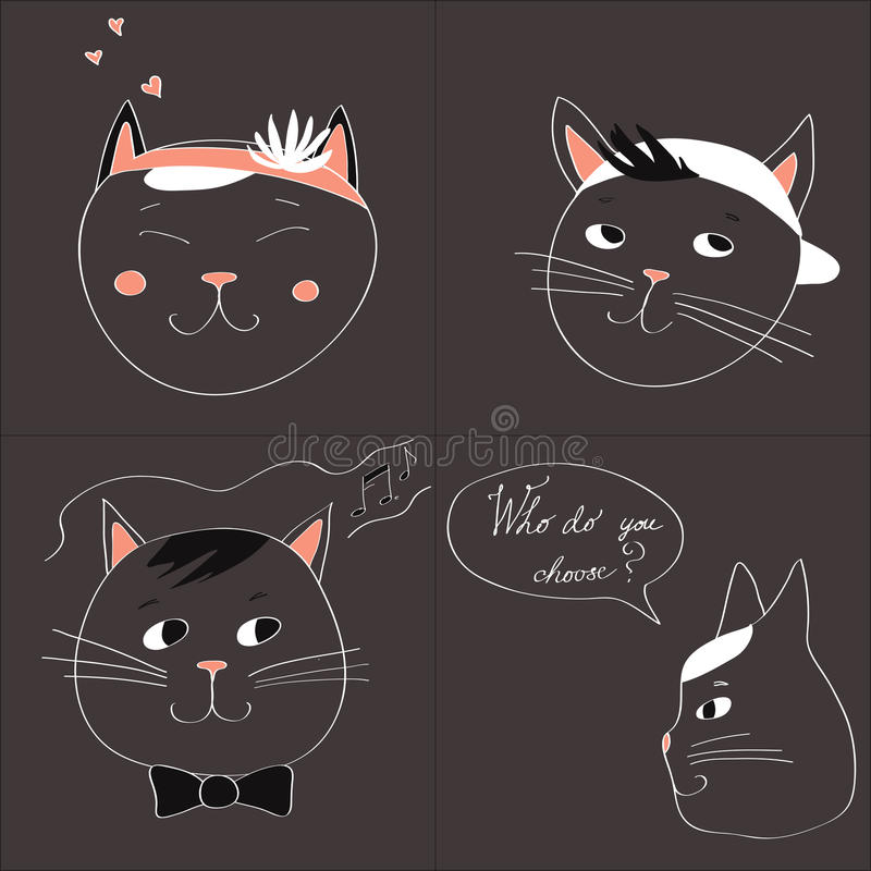 Ilustracja z wizerunkiem cztery kota i tekst Która wy wybierają na szarym tle wektor ilustracja wektor
