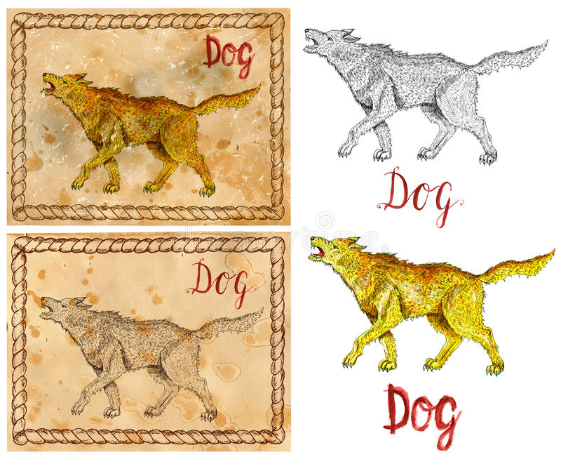 Ilustracja z zodiaka zwierzęciem - pies royalty ilustracja