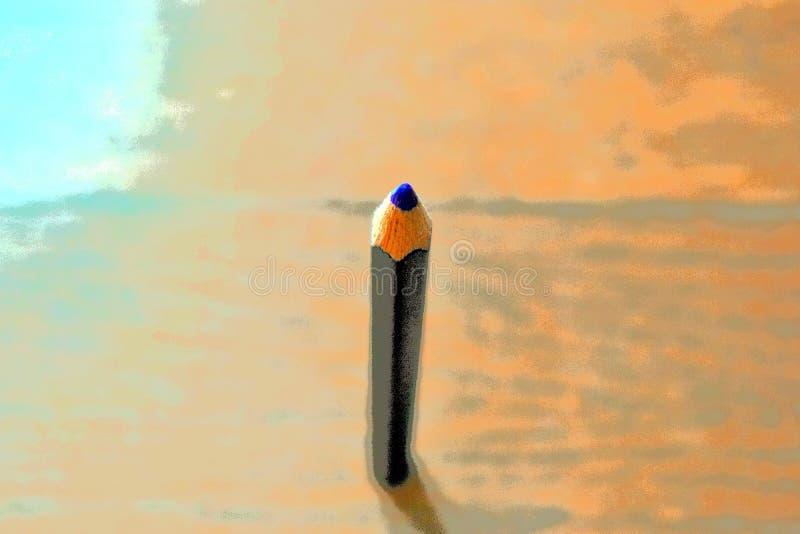 Ilustracja zakończenie w górę porady błękitny ołówkowy colour z drewnianym tłem ilustracji