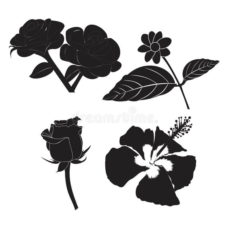 Ilustracja zestawu kwiatowego różowego jaśminu hibiscus lily dla symbolu logo rysunku royalty ilustracja