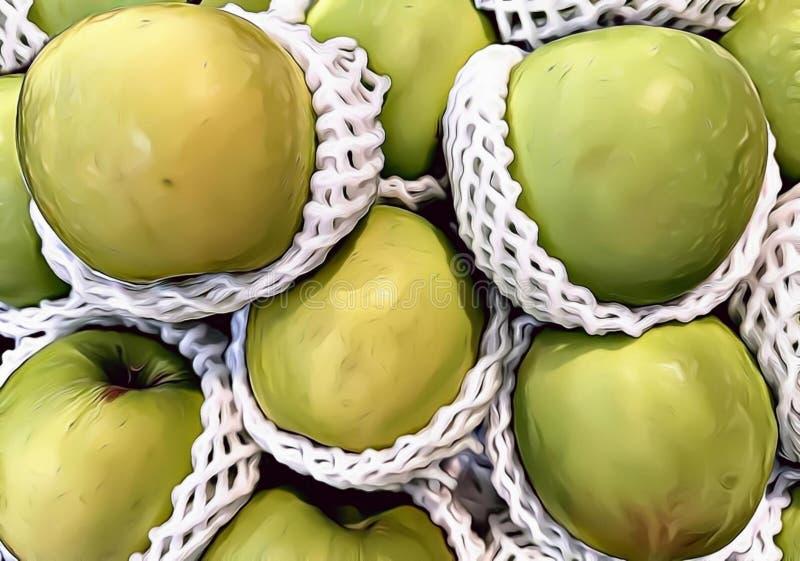 Ilustracja zieleni jabłka z kreskówki grafiki stylem, jabłczany owocowy tło obraz stock
