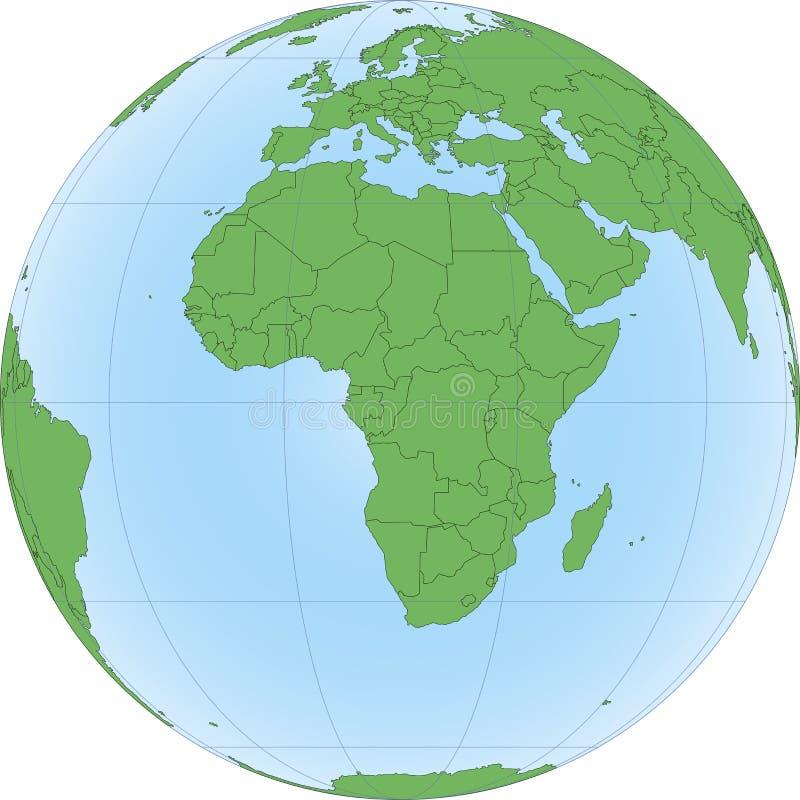Ilustracja Ziemska kula ziemska z skupiający się na Afryka ilustracji