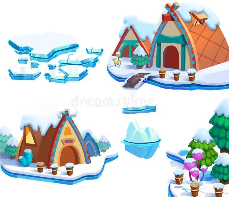 Ilustracja: Zima śniegu lodu tematu elementów Światowy projekt Gemowe wartości Sosna, lód, śnieg, chałupa, wyspa royalty ilustracja