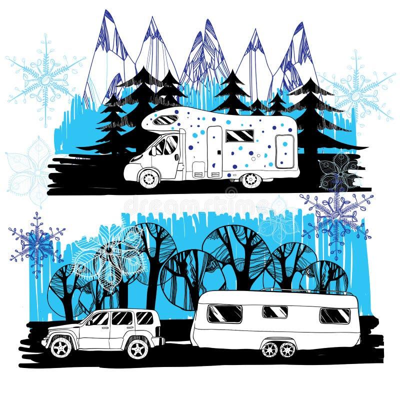 Ilustracja zima krajobraz z obozowicza samochodem dostawczym, motorhome fama ilustracja wektor