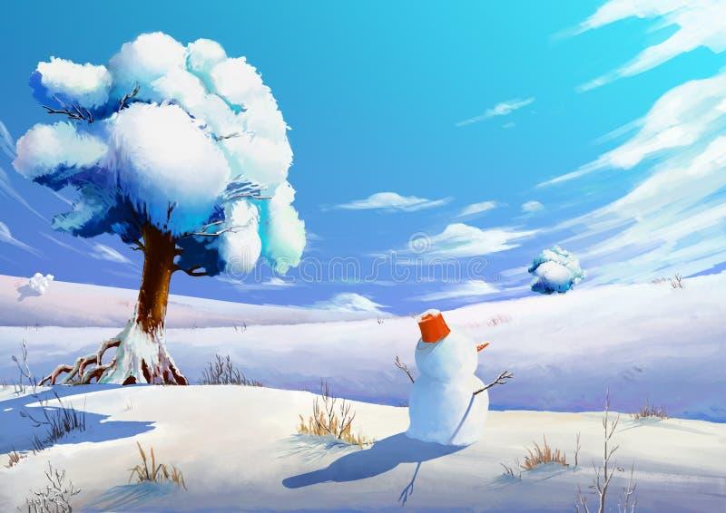 Ilustracja: Zimy Śnieżny pole z bałwanem ilustracja wektor