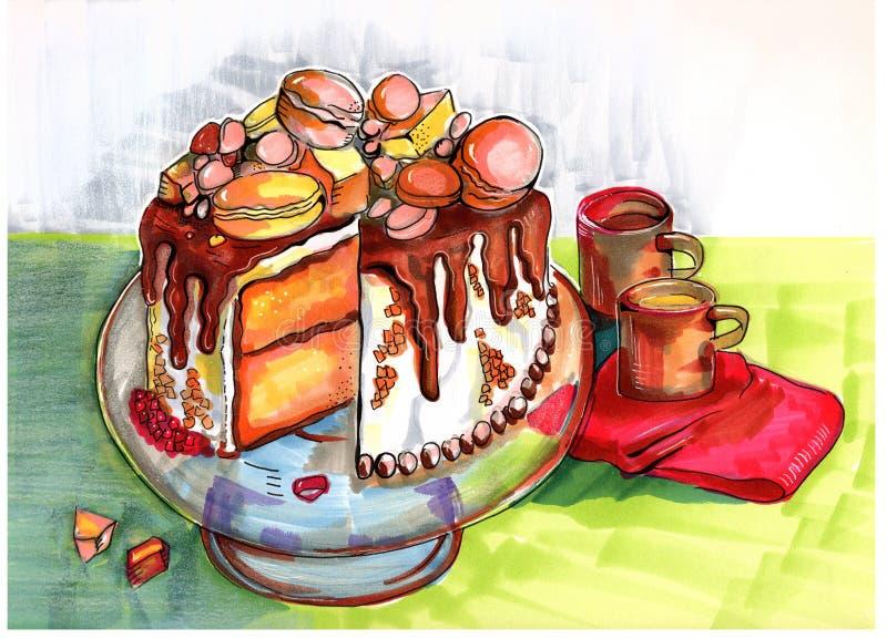Ilustracja zimy przyjęcia tort royalty ilustracja