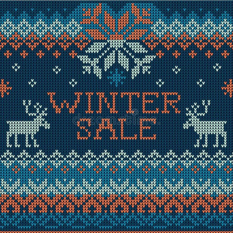Ilustracja zimy sprzedaż: Skandynawa stylowy bezszwowy trykotowy ilustracja wektor