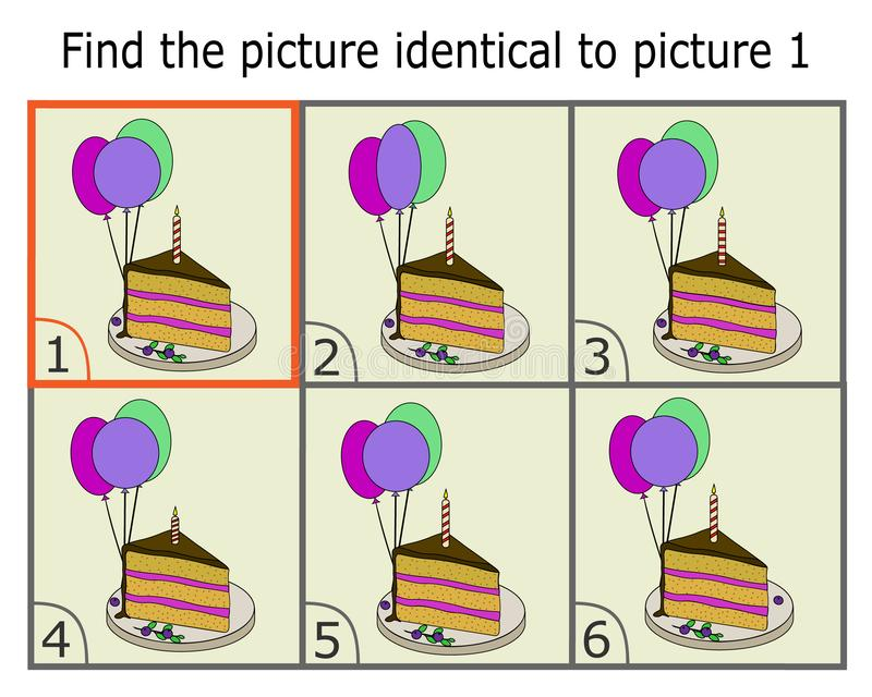Ilustracja znalezienie dwa to samo obrazki Edukacyjna gra dla dzieci Identyczni obrazki dla dzieciaków Kreskówka tort royalty ilustracja