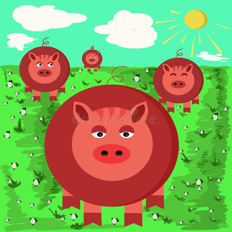 Ilustracje śmieszne świnie royalty ilustracja