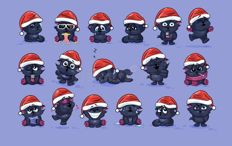 Ilustracje odizolowywali Emoji charakteru kreskówki czarnego kota majcherów emoticons z różnymi emocjami ilustracji