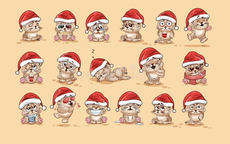 Ilustracje odizolowywali Emoji charakteru kreskówki lamparta lisiątka majcheru emoticons z różnymi emocjami ilustracja wektor