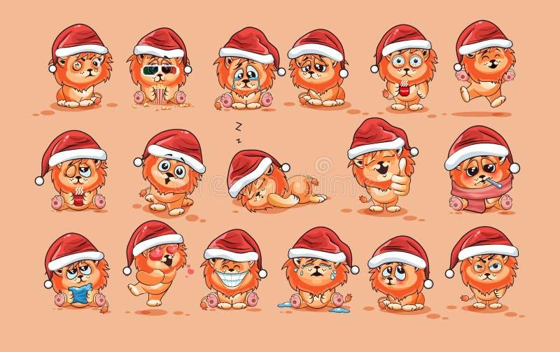 Ilustracje odizolowywali Emoji charakteru kreskówki lwa lisiątka majcheru emoticons z różnymi emocjami ilustracja wektor