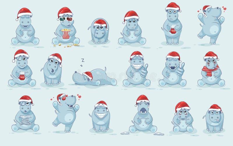 Ilustracje odizolowywali Emoji charakteru kreskówki majcherów Hipopotamowych emoticons z różnymi emocjami royalty ilustracja