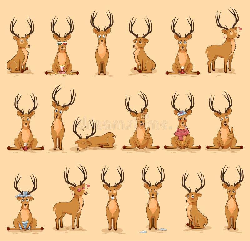 Ilustracje odizolowywali emoji charakteru kreskówki majcherów jelenich emoticons z różnymi emocjami dla miejsca royalty ilustracja