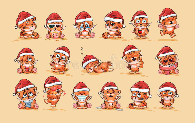 Ilustracje odizolowywali Emoji charakteru kreskówki Tygrysiego lisiątka majcheru emoticons z różnymi emocjami royalty ilustracja