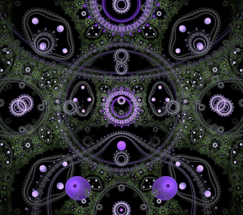 Ilustracji psychodelicznego fractal futurystyczny geometryczny kolorowy zdjęcie stock