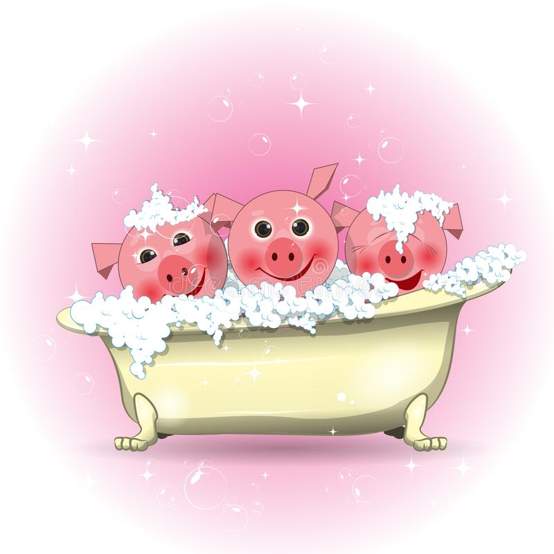 Ilustracji Trzy Wesoło świnie w łazience royalty ilustracja