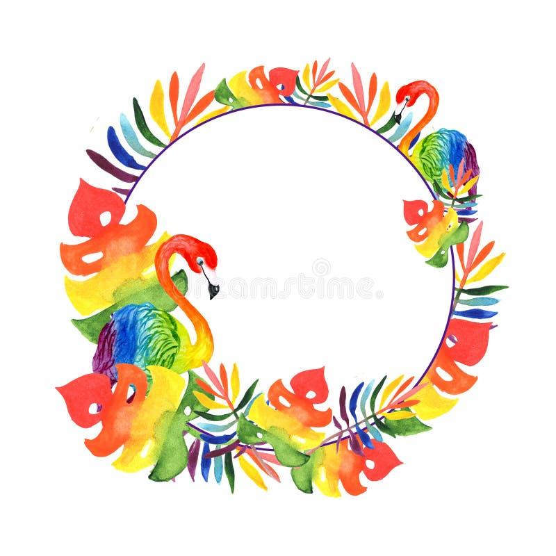 Ilustracyjna akwarela, round rama tropikalni liście i dwa barwiącego flaminga, zdjęcia royalty free