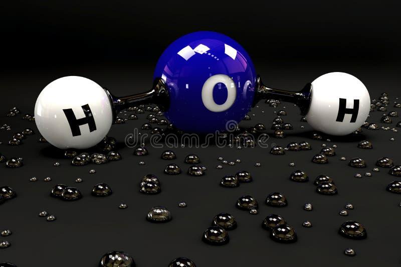 Ilustracyjna błękitna molekuła woda na czarnym tle royalty ilustracja