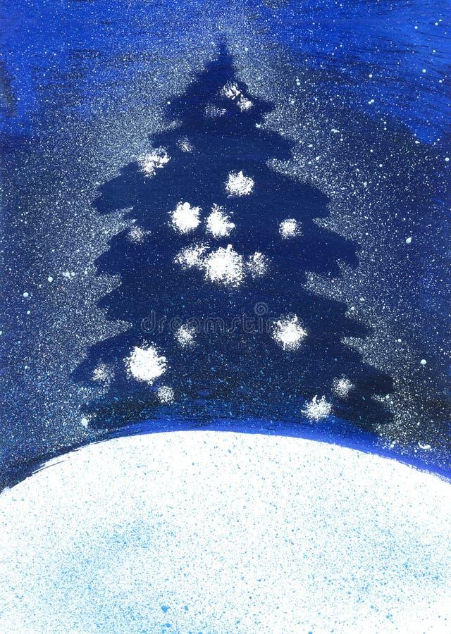 Ilustracyjna choinka w śnieżycy w zimie royalty ilustracja