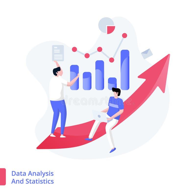 Ilustracyjna dane analiza, statystyki I ilustracja wektor