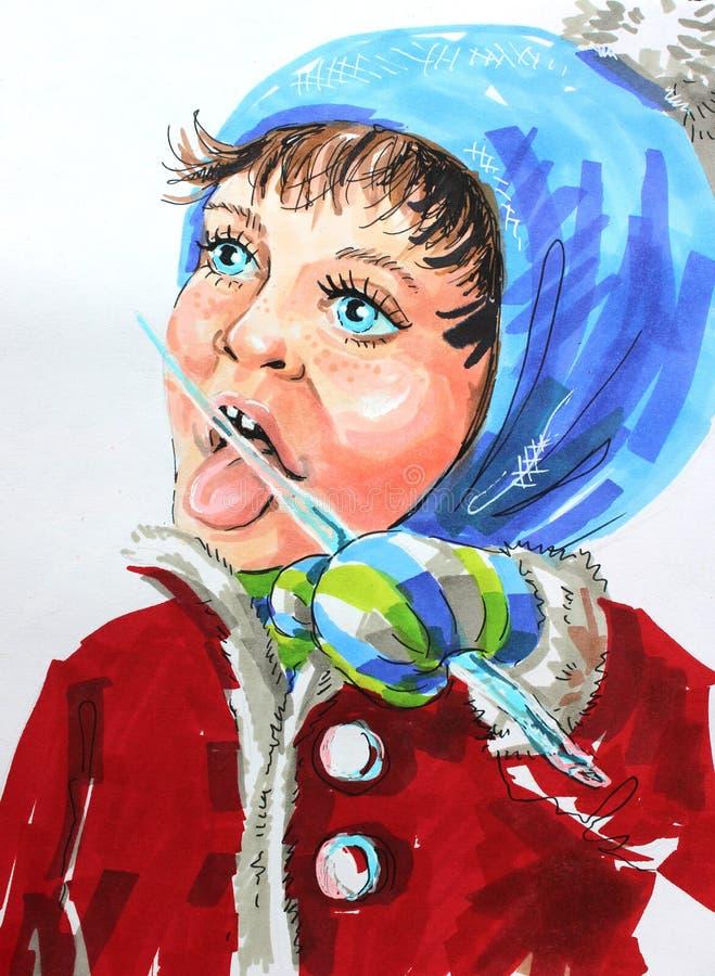 Ilustracyjna dziewczyna i sopel ilustracja wektor