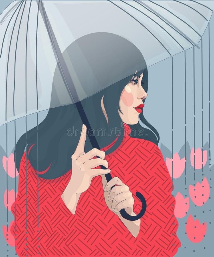ilustracyjna dziewczyna pod parasolem royalty ilustracja