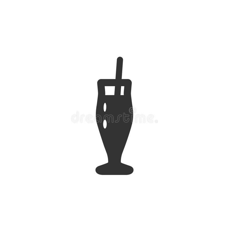 Ilustracyjna ikona wysoki klasyczny piwa lub koktajlu kubka szkło z tubką Czarny kontur, biały tło ilustracja wektor