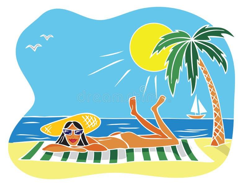 Ilustracyjna kobieta na plaży ilustracji