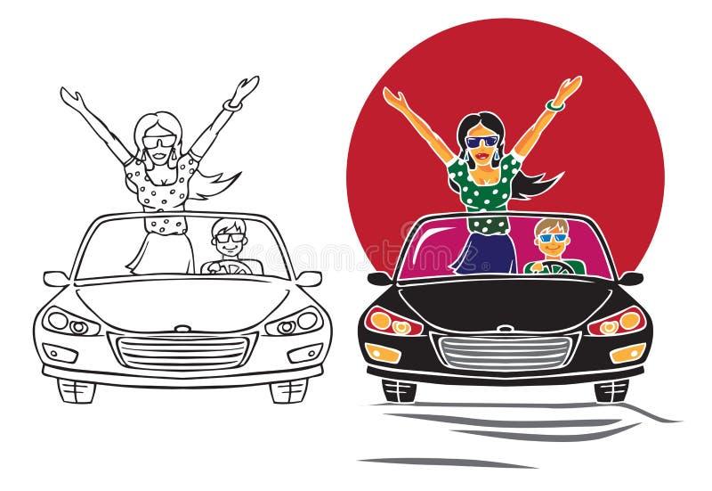 Ilustracyjna kobieta na samochodzie z kierowcą ilustracji