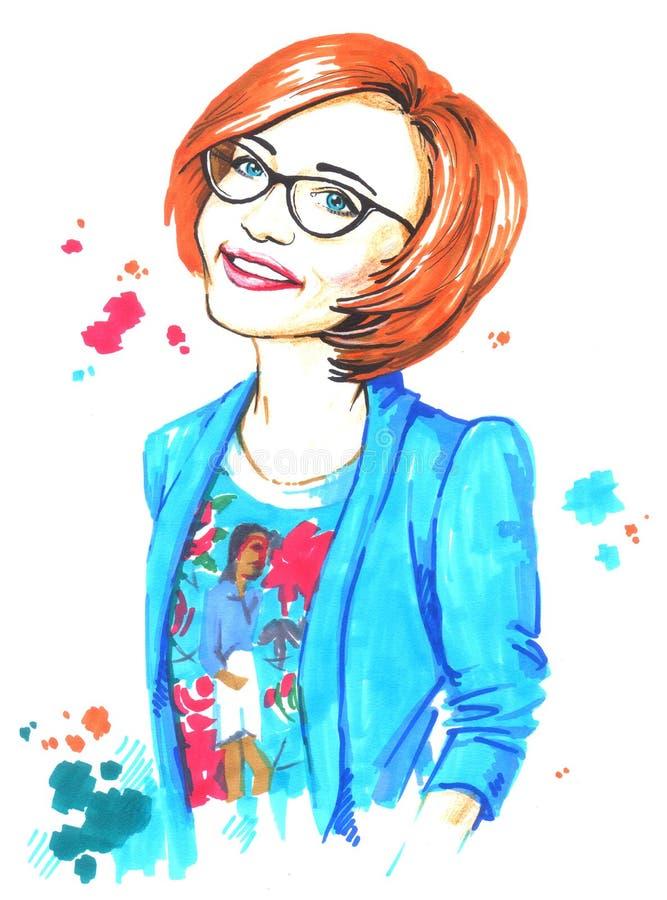 Ilustracyjna modna czerwona z włosami dziewczyna w szkłach ilustracja wektor