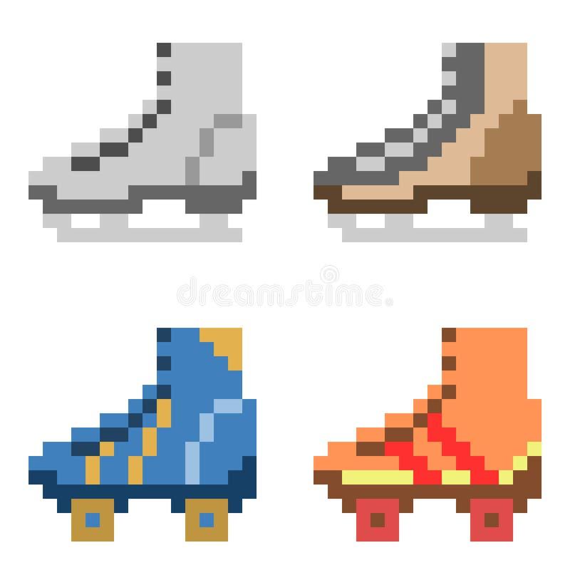 Ilustracyjna piksel sztuki ikony łyżwa ilustracji