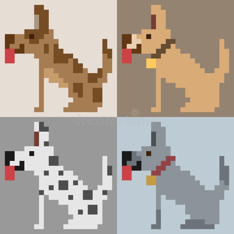 Ilustracyjna piksel sztuki psa strona ilustracja wektor