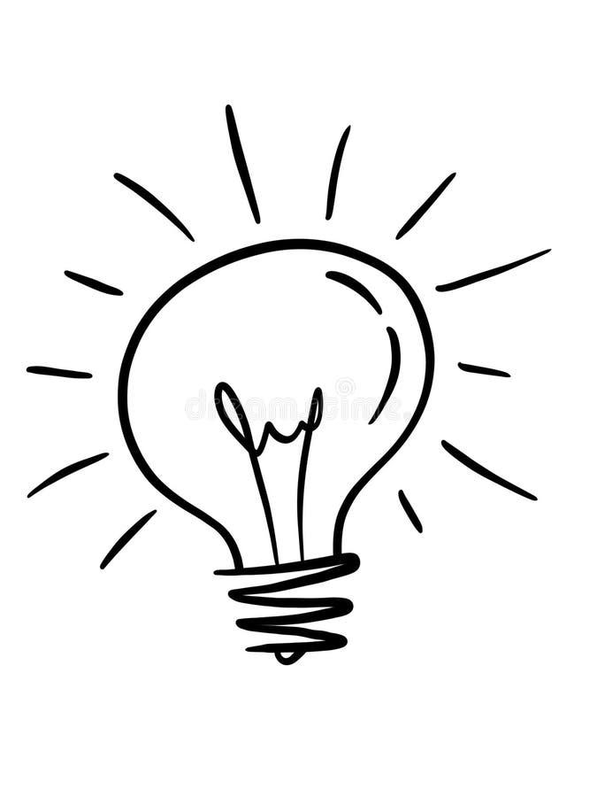 Ilustracyjna ręka rysujący żarówki nakreślenia styl, odosobniony na białym tle Biznes, pomysł, brainstorm pojęcie ilustracji